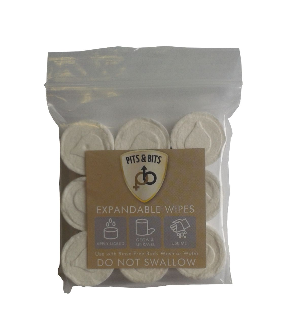 Bits And Pits Expandable Wipes 9 Pack